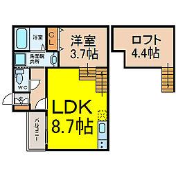 名古屋市営名城線 平安通駅 徒歩9分の賃貸アパート 1階1LDKの間取り