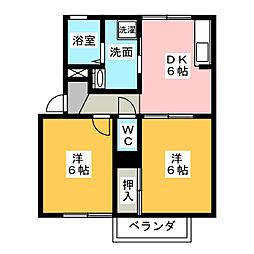 ドリームコート B棟[2階]の間取り