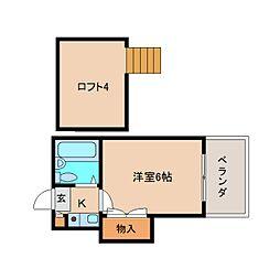 奈良県奈良市富雄北1丁目の賃貸アパートの間取り