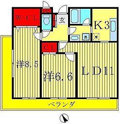 楓雅24[2階]の間取り