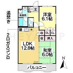 愛知県名古屋市南区呼続元町の賃貸マンションの間取り