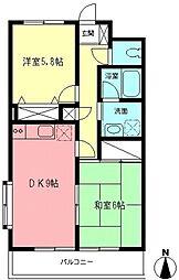 神奈川県川崎市麻生区高石5丁目の賃貸マンションの間取り