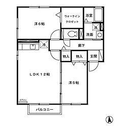 セジュール目長田II[1階]の間取り