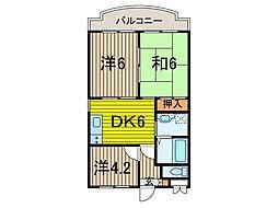 KUK 1階3DKの間取り