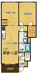 大阪府東大阪市新町の賃貸アパートの間取り