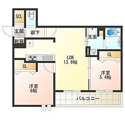 (仮称)西成区シャーメゾン千本南2丁目PJ 1階2LDKの間取り