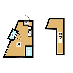 ユナイト金沢八景ヨハネスの杜 1階ワンルームの間取り