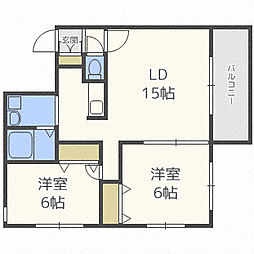 北海道札幌市中央区南五条西14丁目の賃貸マンションの間取り