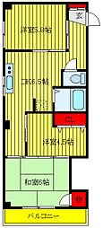 メゾンジュン 4階3DKの間取り