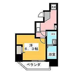 ランヴィ文京千駄木 11階1Kの間取り