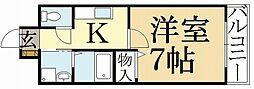 京都府京都市北区西賀茂角社町の賃貸アパートの間取り
