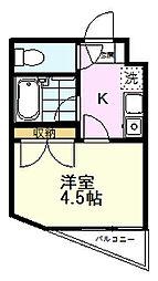 アザレア恋ヶ窪 3階1Kの間取り