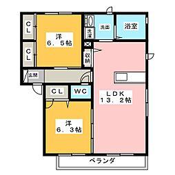 ソレイユふじ B棟[2階]の間取り