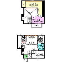 名古屋市営名城線 新瑞橋駅 徒歩5分の賃貸アパート 1階1LDKの間取り