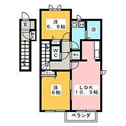 ヒュドールヒューレー K棟[2階]の間取り