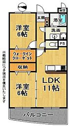 メゾン山崎 3階2LDKの間取り