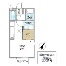 フォレスト サイト 2階ワンルームの間取り