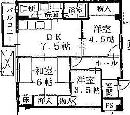 メルカード船岡[2G号室号室]の間取り