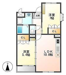 JR日豊本線 隼人駅 徒歩9分の賃貸マンション 2階2LDKの間取り