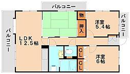 福岡県大野城市若草3丁目の賃貸マンションの間取り