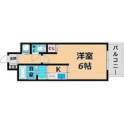 Osaka Metro今里筋線 清水駅 徒歩2分の賃貸マンション 6階1Kの間取り