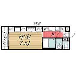 JR内房線 五井駅 徒歩5分の賃貸マンション 1階1Kの間取り