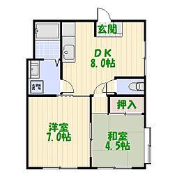 東京都葛飾区西水元5丁目の賃貸マンションの間取り