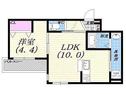 阪急宝塚本線 豊中駅 徒歩10分の賃貸マンション 2階1LDKの間取り