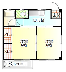 コーポキムラ[201号室]の間取り