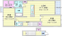 JR東北本線 南仙台駅 徒歩24分の賃貸アパート 2階2LDKの間取り