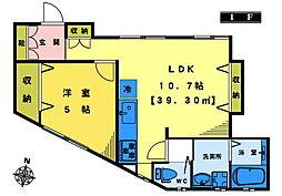 メゾン上高田 1階1LDKの間取り