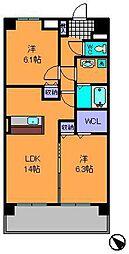 近鉄奈良線 生駒駅 徒歩10分の賃貸マンション 5階2LDKの間取り
