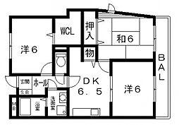 ジャン・ピュールII番館 4階3DKの間取り