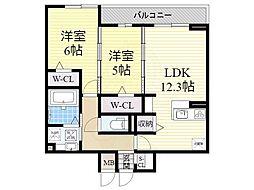 Mサンシャイン 3階2LDKの間取り