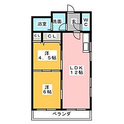レインボー桜井A棟[3階]の間取り