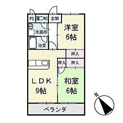 シャインハイム池端 3階[302号室]の間取り