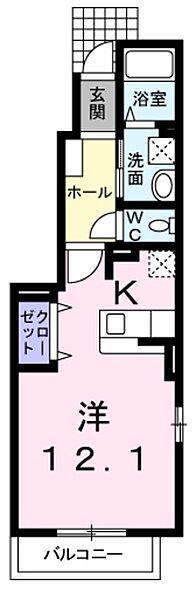 東京都西多摩郡瑞穂町箱根ケ崎西松原の賃貸アパートの間取り