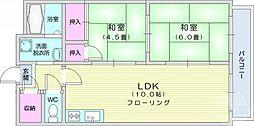ファミール愛宕 4階2LDKの間取り