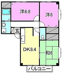 フォブール岡田[203 号室号室]の間取り