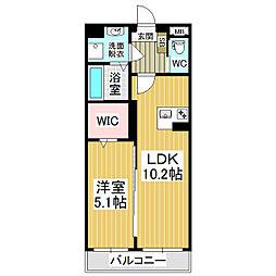 JR篠ノ井線 村井駅 徒歩19分の賃貸マンション 1階1LDKの間取り