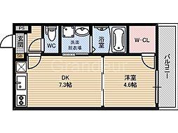 大阪府大阪市城東区新喜多東2丁目の賃貸アパートの間取り