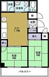 サンシティ本田[2階]の間取り