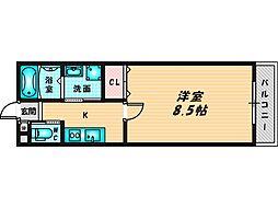 レクラン深江南 9階1Kの間取り
