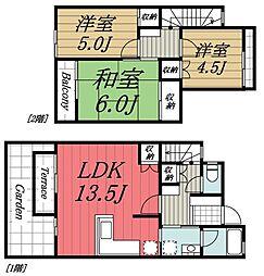 JR内房線 長浦駅 徒歩10分の賃貸アパート 1階3LDKの間取り