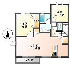 愛知県名古屋市中村区二ツ橋町3丁目の賃貸アパートの間取り