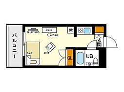 家具・家電付きメゾン・ド・天神[2階]の間取り