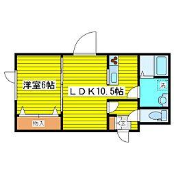 札幌市営東豊線 環状通東駅 徒歩6分の賃貸アパート 1階1LDKの間取り