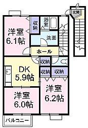 香川県丸亀市土器町東1丁目の賃貸アパートの間取り