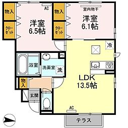 D-room船木[1階]の間取り
