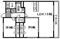 JR阪和線 久米田駅 徒歩12分の賃貸マンション 2階2LDKの間取り